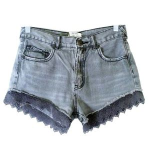 Free People Gray Faded Wash Lace Shorts Sz 25